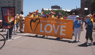 2018 Love banner at gay pride parade